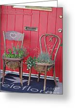 Two Chairs With Plants Greeting Card