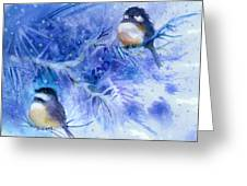Two Chickadees In Snow Greeting Card