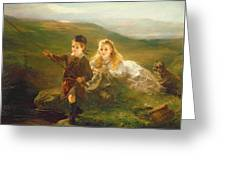Two Children Fishing In Scotland   Greeting Card