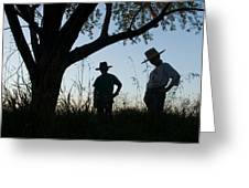 Two Children In Cowboy Hats Greeting Card