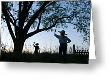 Two Children In Cowboy Hats Wave Greeting Card