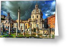 Two Churches And Columns Greeting Card