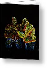 Two Classical Guitar Players  Greeting Card