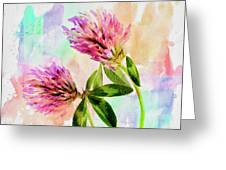 Two Clover Flowers With Pastel Shades. Greeting Card
