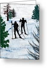 Two Cross Country Skiers In Snow Squall Greeting Card