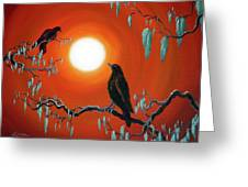 Two Crows On Mossy Branches Greeting Card