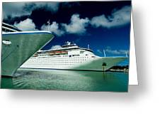 Two Cruise Ships Docked At A Caribbean Greeting Card
