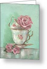 Two Cup Rose Painting Greeting Card