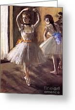 Two Dancers In The Studio Dance School Greeting Card