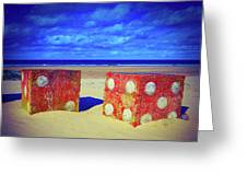 Two Dice On A Beach Greeting Card