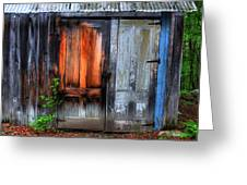 Two Doors On A Woodshed Greeting Card