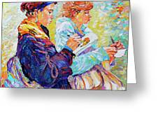 Two Drawing Ladies Greeting Card