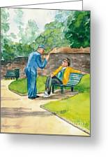 Two Englishmen In Conversation  Greeting Card