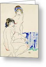 Two Female Nudes By The Water Greeting Card