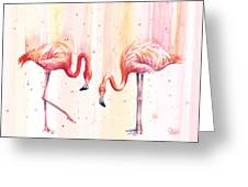 Two Flamingos Watercolor Greeting Card