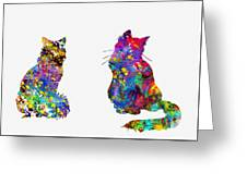 Two Fluffy Cats-colorful Greeting Card