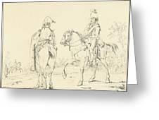 Two French Cavalrymen On Horseback Greeting Card