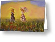 Two Friends Walking In The Field Greeting Card