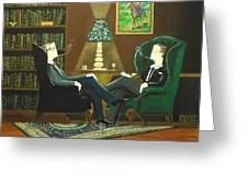 Two Gentlemen Sitting In Wingback Chairs At Private Club Greeting Card