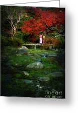 Two Girls In Kimono Standing On A Bridge In Japanese Garden In A Greeting Card