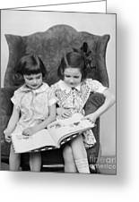 Two Girls Reading A Book, C.1920-30s Greeting Card