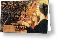 Two Girls With An Oleander Greeting Card