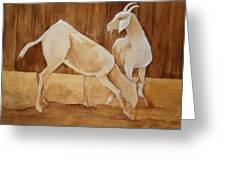 Two Goats In Sepia Greeting Card