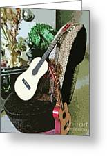 Two Guitars On A Shoe Chair Greeting Card