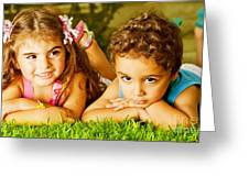 Two Happy Kids Greeting Card