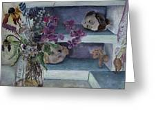 Two Heads With Bouquet Greeting Card