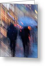 Two In The Rain Greeting Card