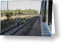 Two Kids Run Along And Follow Train In Burma Greeting Card