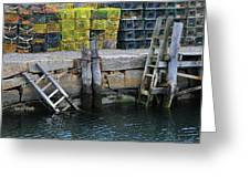 Two Ladders At High Tide Greeting Card