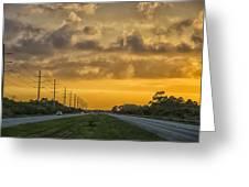Two Lane Sunset Greeting Card