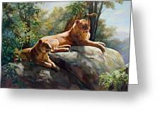 Two Lions - Forever And Always Together Greeting Card