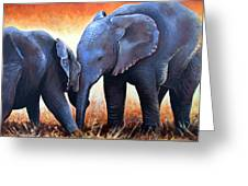 Two Little Elephants Greeting Card