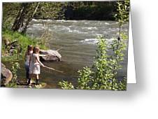 Two Little Girls Playing By The River Greeting Card