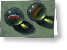 Two Marbles In Pastel Greeting Card