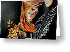 Two Masks In Venice  Greeting Card