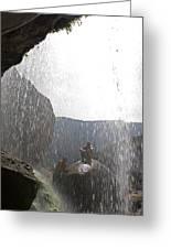 Two Men Exploring Tar Creek Waterfalls Greeting Card
