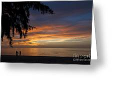 Two Men Walking On Sunset Greeting Card