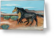 Two Mustangs Greeting Card