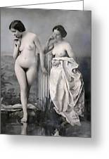 Two Nude Victorian Women At The Baths C. 1851 Greeting Card by Daniel Hagerman