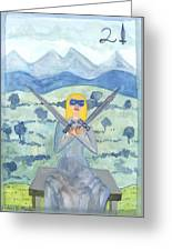 Two Of Swords Illustrated Greeting Card
