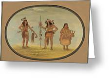 Two Ojibbeway Warriors And A Woman Greeting Card