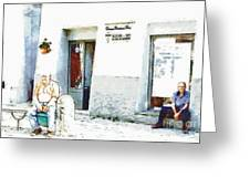 Two Old Men Sitting In Front Of The Store Greeting Card