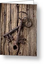 Two Old Skeletons Keys Greeting Card