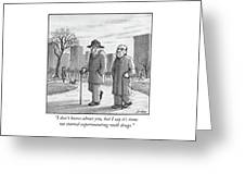 Two Older Men Walk With Canes Through A Park. Greeting Card