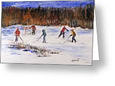 Two On Two On The Frozen Pond Greeting Card