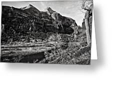 Two Peaks - Bw Greeting Card